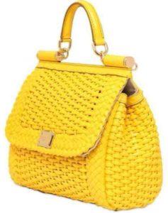 желтая сумка под плетенку