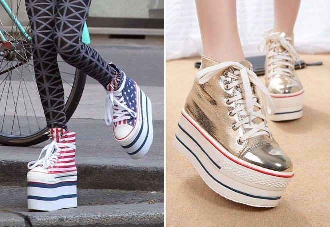 Женские кроссовки блестящие
