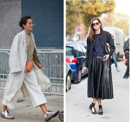 Женские оксфорды блестящие с чем носить