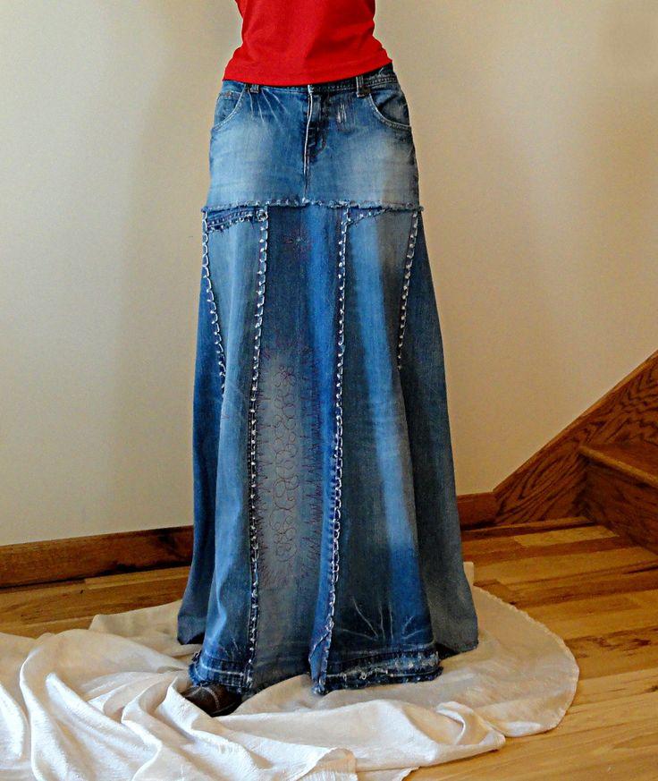 длинная юбка из старых джинс