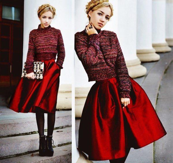 бордовая атласная юбка