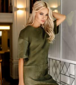 замшевое платье цвета хаки