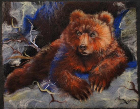 медведь из шерсти в технике сухого валяния