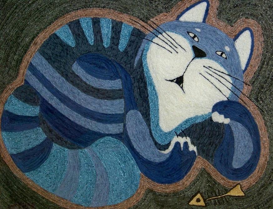 картина из ниток кот