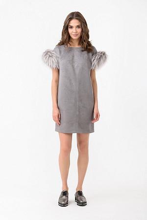 замшевое платье с мехом