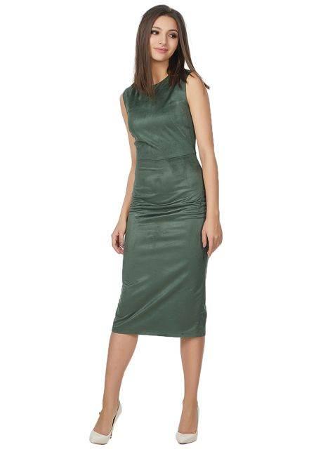 приталенное платье из замши