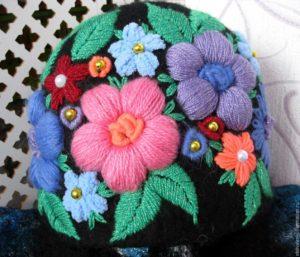 вышивка шерстяными нитками схемы цветы