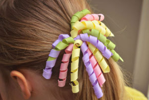 Атласные ленты спиралью заколка для волос