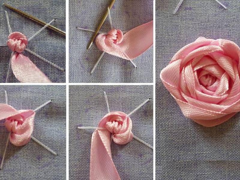 Атласные ленты роза 1