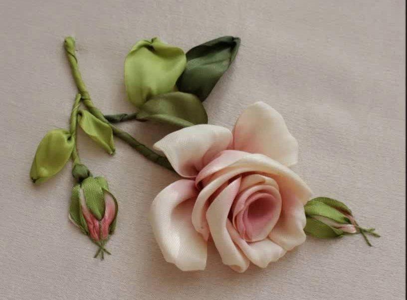 Атласные ленты роза 3