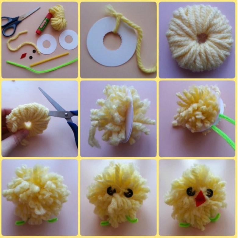 Что сделать из ниток для вязания — цыпленок