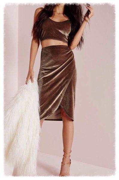 велюровая юбка с запахом