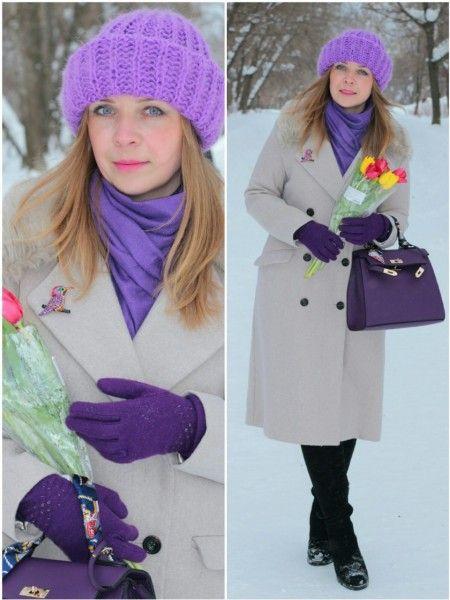 Фиолетовая сумка зимой