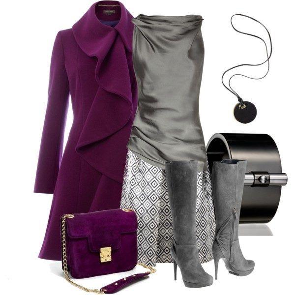 Фиолетовая сумка с серым луком