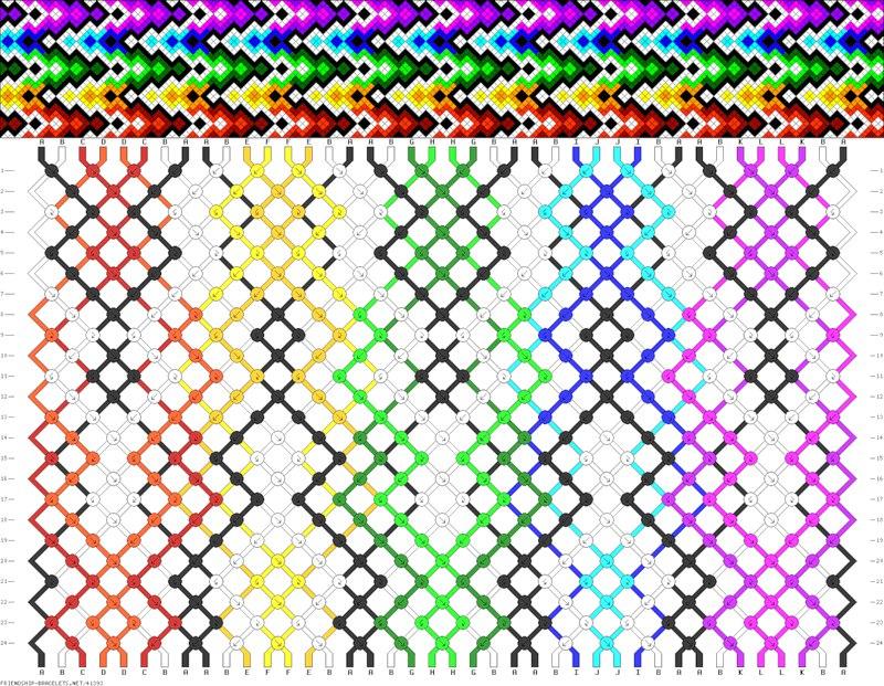 схема разноцветной фенечки