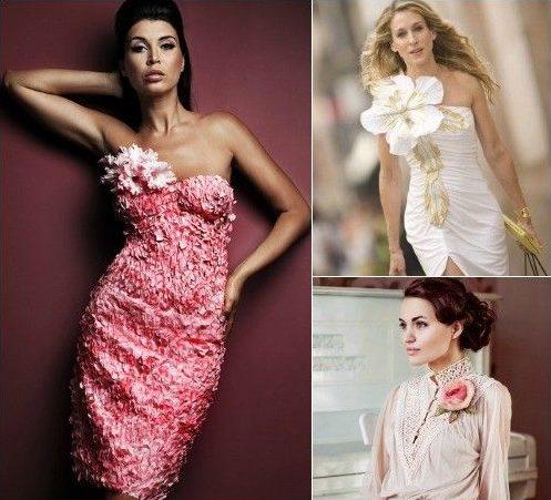 Разные цветы на платьях
