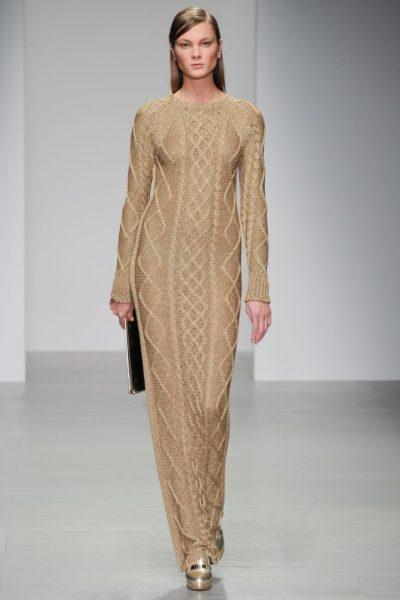 шерстяное платье в пол