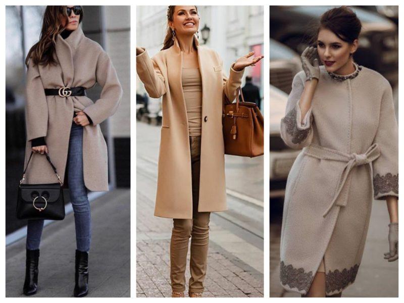 стильное драповое пальто