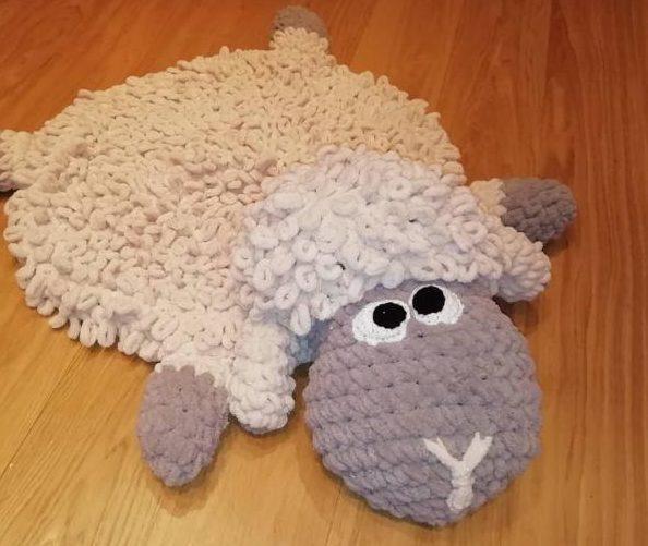 Как вязать из пряжи пуффи коврик барашек