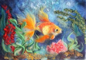 Картина рыбка валяние шерсти