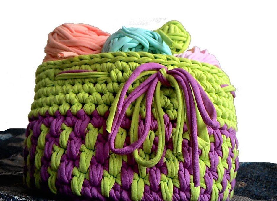 Корзинка зелено-фиолетовая