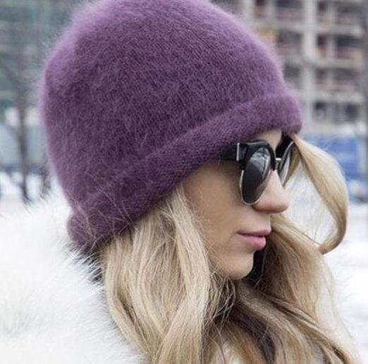 Мохер шапка фиолетовая