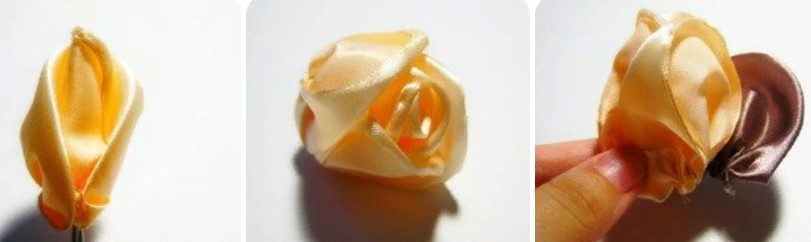 Роза из широкой ленты 3