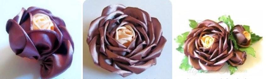 Роза из широкой ленты