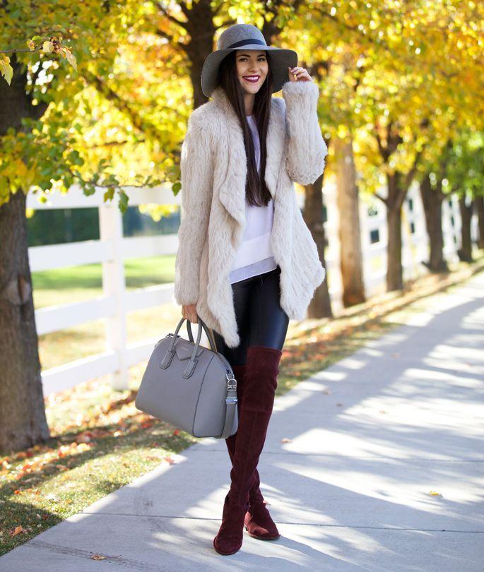 Бордовые ботфорты замшевые со шляпой