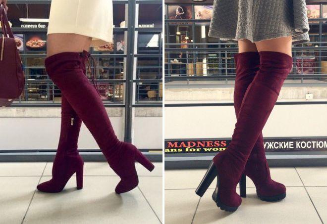 Бордовые ботфорты замшевые на высоких каблуках