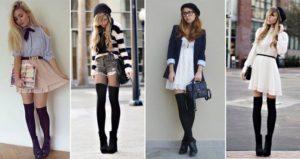 С чем носить теплые черные чулки