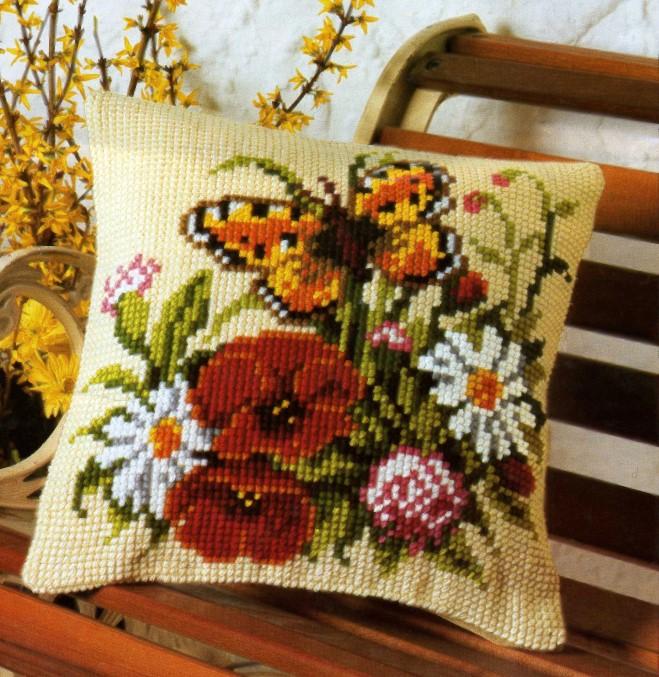 Вышивка крестиком подушка