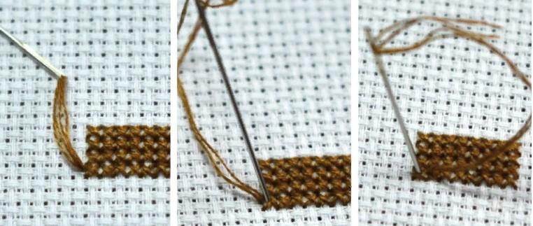 Вышивка закрепление нити микростежком в конце вышивки