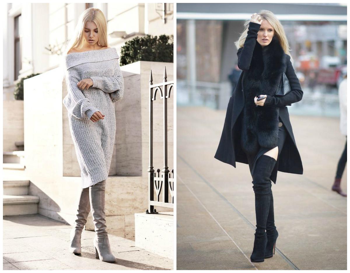 Замшевые ботфорты и зимнее платье