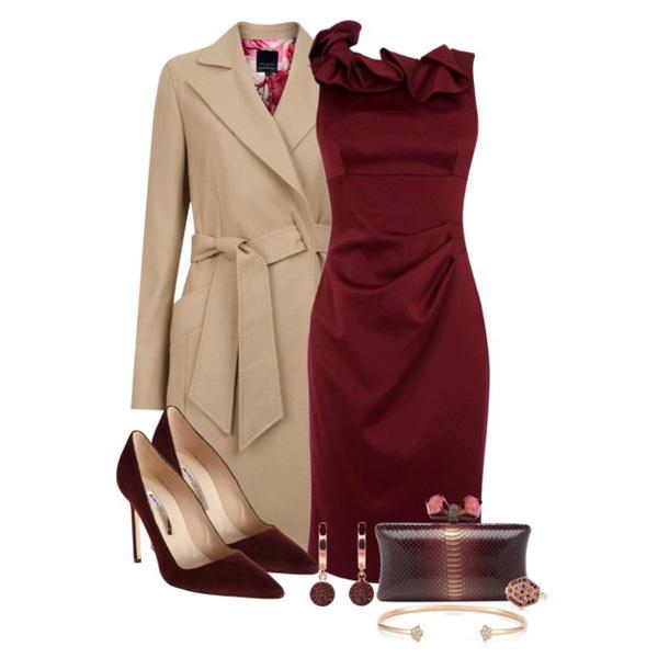 бордовое платье с бежевым пальто