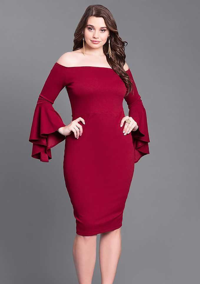бордовое вечернее платье для полных дам