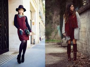 бордовые платья 2 варианта