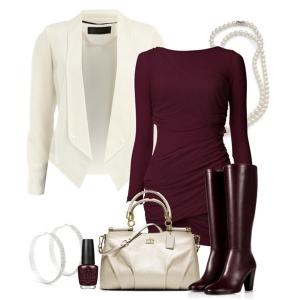 бордовое платье с белым пиджаком