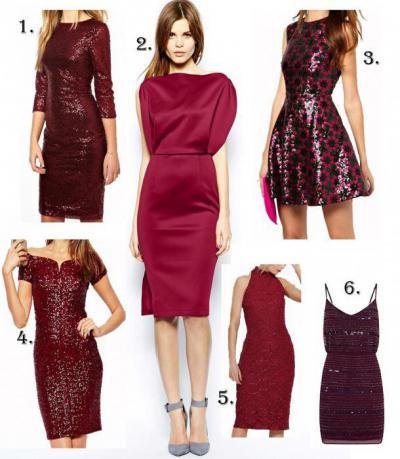бордовые платья разных фасонов