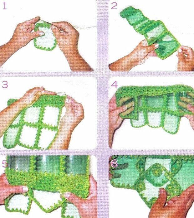 сумка из пластиковых бутылок обвязываем крючком квадраты