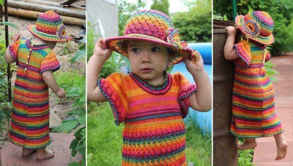 детское платье из пряжи секционного крашения