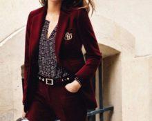 бордовый велюровый пиджак