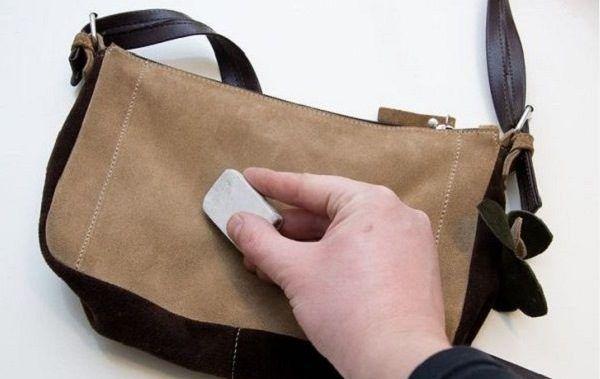 чистки замшевой сумки ластиком