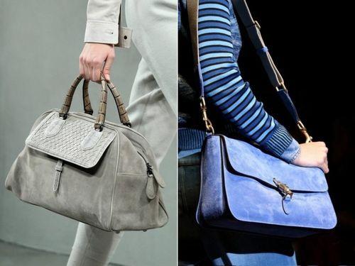 Замшевые сумки серая и синяя