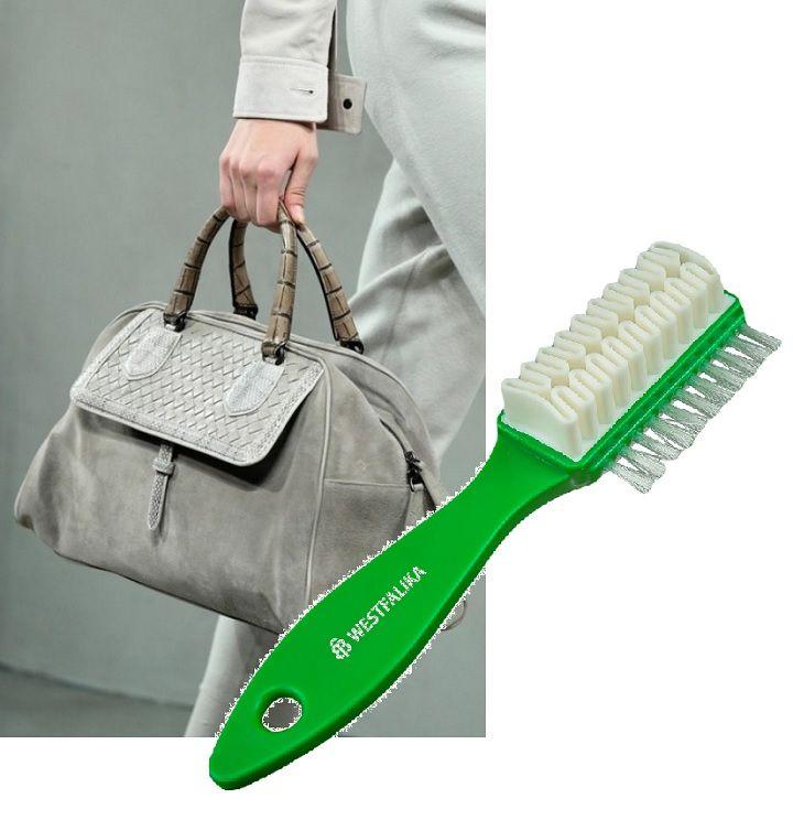 чистка замшевой сумки мягкой щеткой
