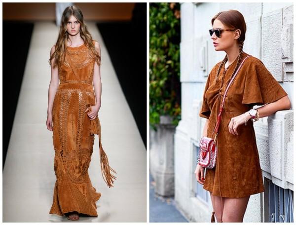 коричневое замшевое платье
