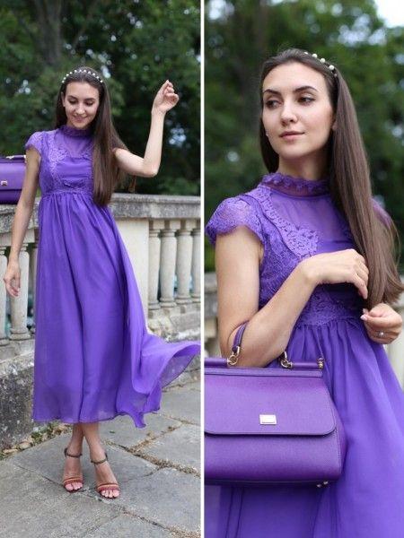 Фиолетовая сумка вечерний вариант