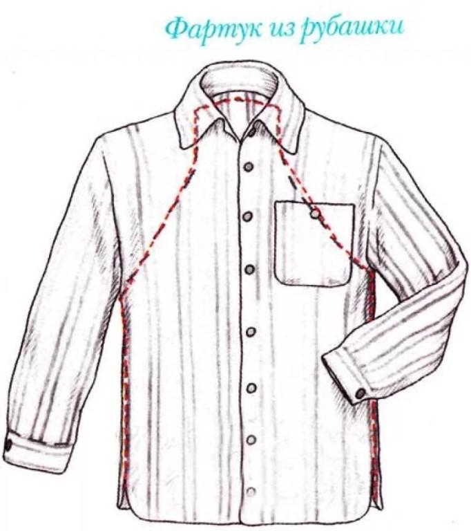 выкройка фартука из рубашки