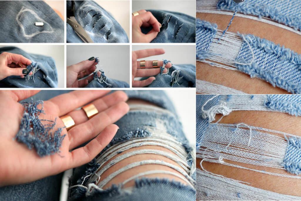 дырки на джинсах