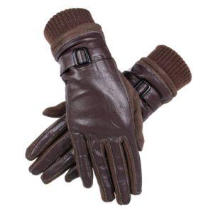 комбинированные замшевые с кожей перчатки